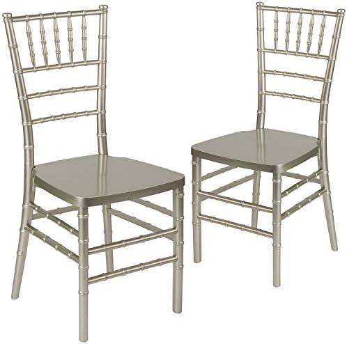 Flash Furniture 2 Pk. HERCULES PREMIUM Series Champagne Resin Stacking Chiavari Chair