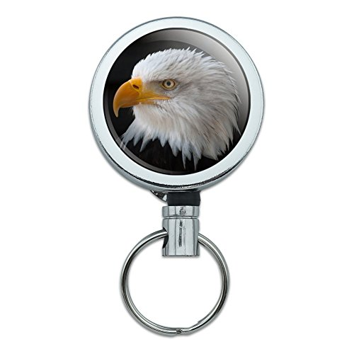 - Stoic Bald Eagle Heavy Duty Metal Retractable Reel ID Badge Key Card Tag Holder with Belt Clip