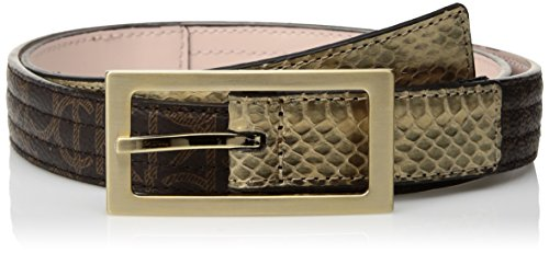 Brown Snake Genuine Belt (Calvin Klein Women's Calvin Klein Logo Genuine Snake Belt, Brown, L)