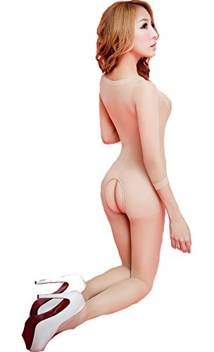 xy Open Bust and Crotch Lingerie Long Sleeves Chemise Body-Stocking (Skin Colour) (Open Bust Bodystocking)
