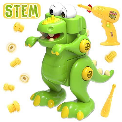 GILOBABY Desarma los juguetes de dinosaurios con herramientas de perforación, STEM Learning Toy 45 PCS Juego de construcción para niños y niñas de 3 años en adelante