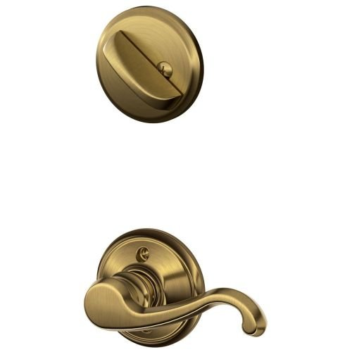 Schlage F59 Callington Left Hand Interior Active Trim with 12326 Latch and 10027 Strike Antique Brass Finish - Left Hand Callington Lever
