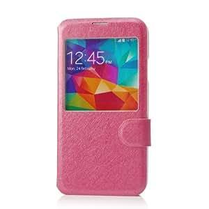 VCOER premium Decoración PU caso magnético de piel cubierta / manga / cubierta / piel del cuero / del caso del tirón la caja del teléfono móvil para Samsung Galaxy S5 I9600 - Diseño de cuero de la PU de alta calidad INCLUIDO función stand - rosa