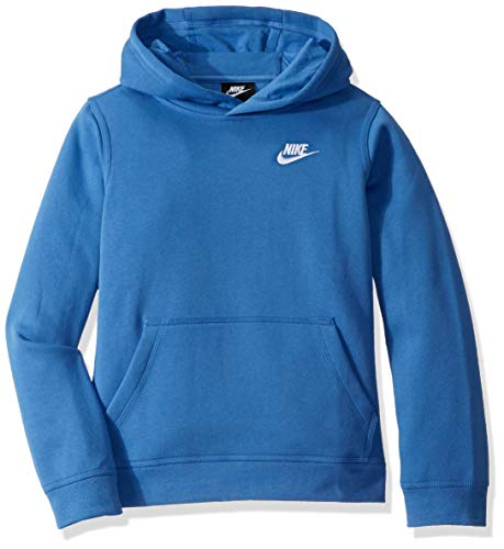 (Nike Boy's NSW Pull Over Hoodie Club, Mountain Blue/White, Large)