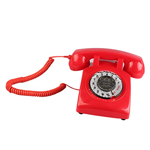 Prettyia Retro Rotary Dial Home Phones, Old Fashioned Classic Corded Telephone Vintage Landline Phone for Home and Office - red from Prettyia