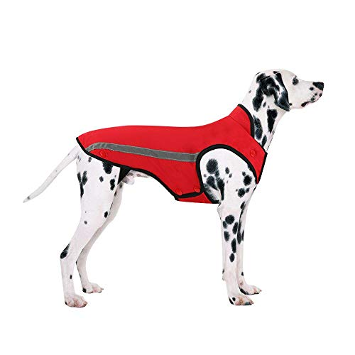 (SlowTon Dog Winter Jacket, Detachable Flannel Lining Dog Coat Adjustable Neck and Chest Pet Vest with Reflective Stripe Waterproof Windproof Snowsuit Keep Warm for Small Medium Large (X-Large, Red))
