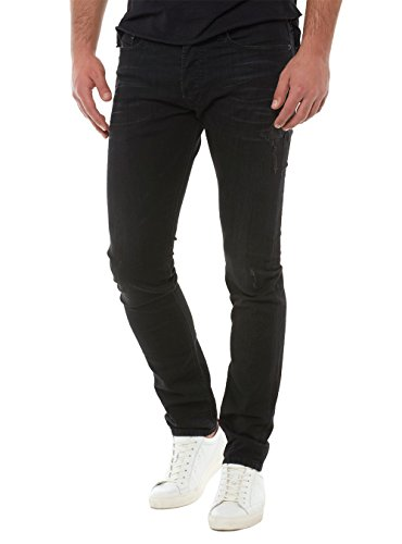 Diesel Men's Jeans Tepphar Slim Fit Cotton Black Destroy Mid-Rise 00CKRI- 0679F- 02 (W 32 - L 32) ()