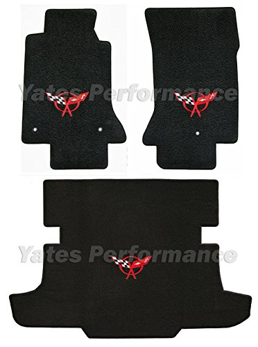 C5 Corvette Coupe Black 3pc Floor & Rear Cargo Mats - Crossed Flags Logo in Red