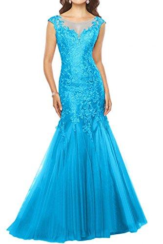 Charmant Damen Promkleider Brautmutterkleider Blau Ausschnitt U Lang Glamour Spitze Meerjungfrau Partykleider w4r1wd