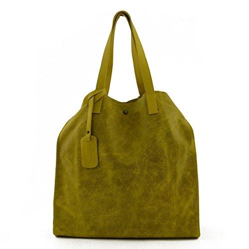 Bolso Shopper En Piel Verdadera Color Amarillo - Peleteria Echa En Italia - Bolso Mujer