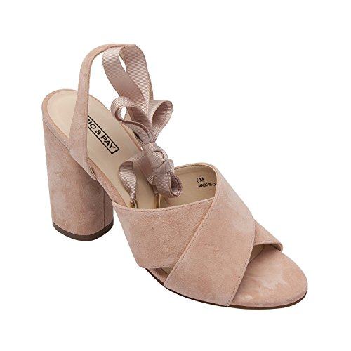 PIC/PAY Brielle   Women's High Block Heel Comfortable Ankle Wrap Sandal Blush Suede 8.5M