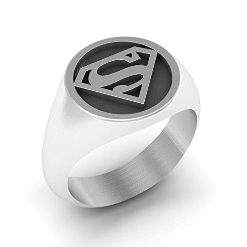 Superman Ring, Sterling Silver Superman Wedding Ring, Super Hero Ring, ()