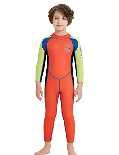 DIVE & SAIL Kids Wetsuit 2.5mm Neoprene Keep Warm for Diving Swimming Canoeing UV Protection(Orange,M)