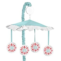Musical Baby Crib Mobile for Modern Turquoise and Coral Emma Collection