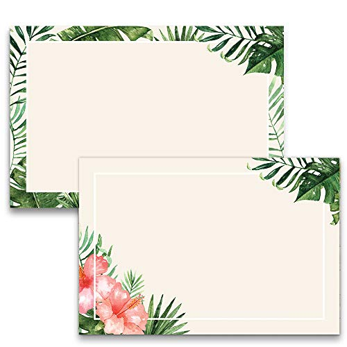Flat Tropical Note Cards, A6, 4 x 6 inches, Double-Sided, The Gift Collection, Set of 50