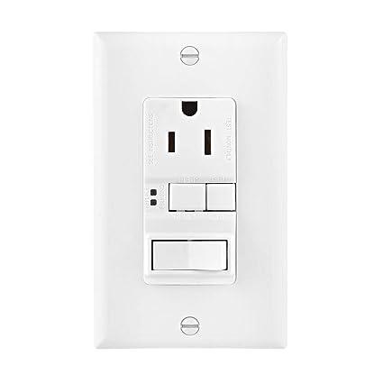 eaton sgfs15w-msp arrow hart duplex gfci receptacle, 125 vac, 15 a, 2 pole,  3 wire, white - - amazon com
