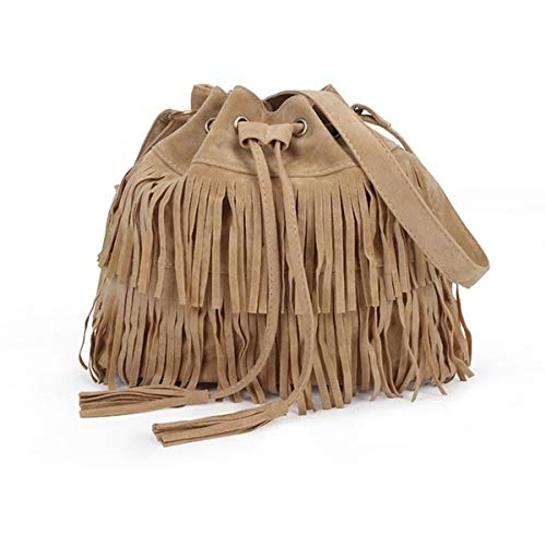 (sandywident Hot Vintage Messenger Bag Shoulder Crossbody Bag Bohemia Women Tassel Fringe Suede Handbag Purses Drawstrings Drawstring Bucket Bags(Apricot,one Size))