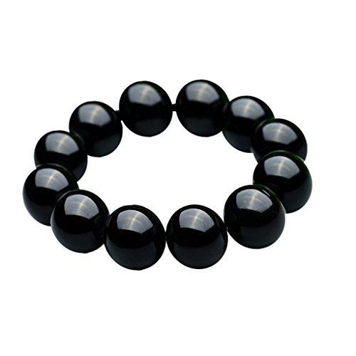 Parma77 Men Women's Brazil Black Agate Gemstone Round Bead Beaded Prayer Stretch Bracelet 18mm