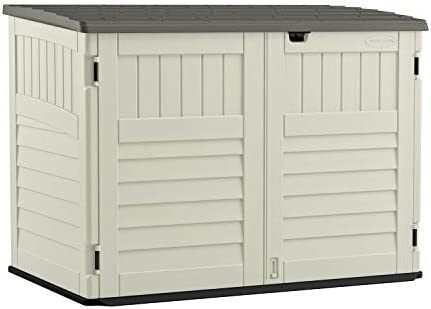 Suncast 5 x 3 Horizontal Stow-Away Storage Shed – Natural Wood-like Outdoor Storage for Trash Cans and Yard Tools – All-Weather Resin, Hinged Lid, Reinforced Floor – Vanilla and Stoney