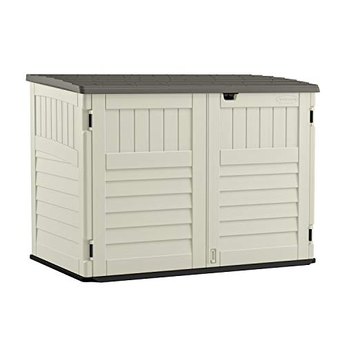 Best Suncast 5' x 3' Horizontal Stow-Away Storage Shed - Natural Wood-like Outdoor Storage for Trash Cans and Yard Tools - All-Weather Resin, Hinged Lid, Reinforced Floor - Vanilla and Stoney