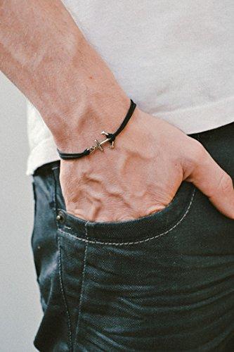 Brazalete con cordón de anclaje, brazalete para hombre, colgante de plata, cordón negro, brazalete para hombre, regalo para...