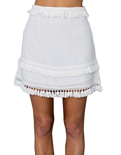 Soire Package Jupe Plage Couleur Mini Jupe Fte Ajoure de Hanche de Femmes Unie Houppe Blanc Slim Mode Jupes qCvwwHx5