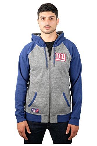 NFL Men's New York Giants Full Zip Fleece Hoodie Sweatshirt Jacket Contrast Raglan, X-Large, (New York Giants Hoodie)