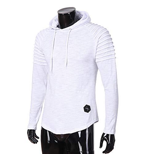 OrchidAmor Fashion Men's Autumn Winter Slub Cotton Pleats Slim Fit Raglan Long Sleeve Hoodie Top Blouse White