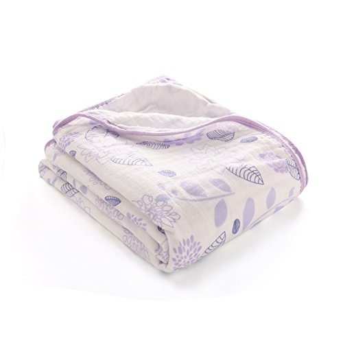 LAT Soft Receiving Muslin Swaddle Blanket, Double-Layer, 100% Cotton Extra Large 47″x59″ Covering Cloth, Perfect Baby Shower Gift (Purple Flower) Review