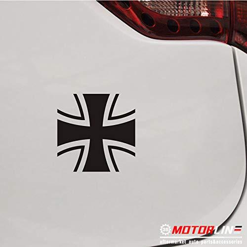 (3S MOTORLINE (2) 4'' Iron Cross Decal Sticker Car Vinyl Black German Germany Bundeswehr)