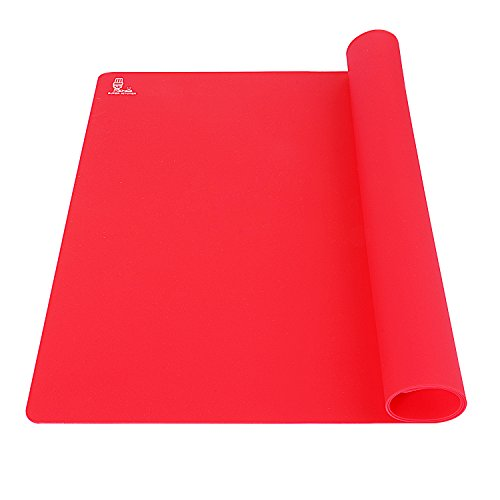 Super Kitchen Extra Large Multipurpose Silicone Nonstick Baking Mat, Pastry Mat, Heat Resistant Nonskid Table Mat, Countertop Protector, 23.4'' By 15.6'' (Red) -