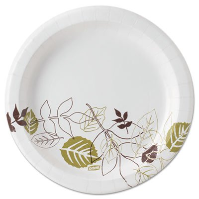 DIXUX9PATH Ultralux Pathways Paper Plates, 8.5quot;, Green/Burgundy