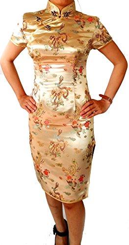 Chinese Women's Geisha Qipao Dress Costume Cosplay Dragon Patterns (34, Gold)