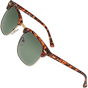 Rivacci Men Women Clubmaster Gold Tortoise Frame / G15 Green – Gray Lens Classic Retro Polarized Sunglasses