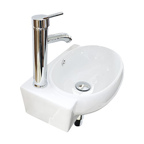 Wall Sink Mounted Corner - Sliverylake Bathroom Corner Sink Wall Mounted Sink White Porcelain Ceramic Vessel Sink and Faucet Combo