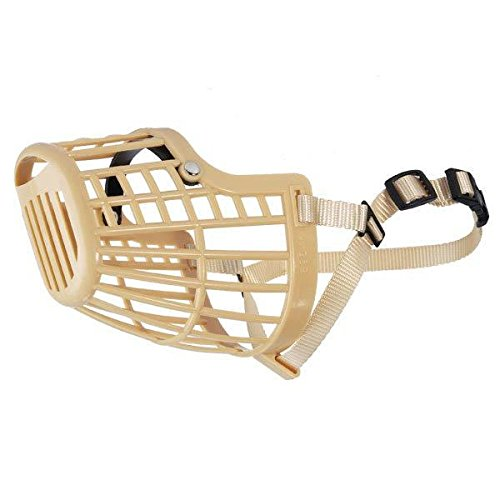 Guardian Gear BASKET MUZZLES for DOGS - 7 Sizes & 2 Colors Available Low Prices Vet Sets Too(xxSmall 8 Inch Snout Beige) (Guardian Gear Basket Muzzle)