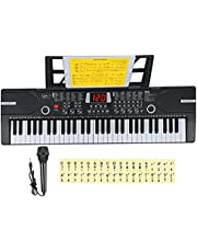 Hricane Kids Pianotoetsenbord, 61 toetsen Beginner Elektronisch Toetsenbord Draagbaar Digitaal Muziektoetsenbord, Vroege Onderwijs Muziek Instrument met Microfoon & Muziekblad Stand, Cadeau voor jongens en meisjes