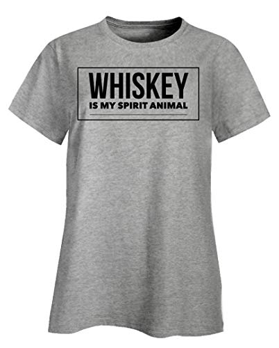 Funny Whiskey Ladies T-Shirts - is My Spirit Animal - Gift for Drinkers Ash Grey