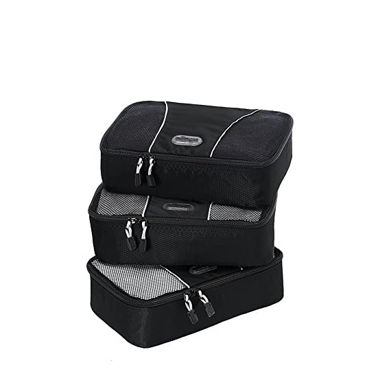 "eBags Small Classic Packing Cubes for Travel - Organizers - 3pc Set 1 INCLUDES 3 Small PACKING CUBES: Dimensions are 11"" x 6.75"" x 3""; great for packing tanks, undergarments, diapers, etc. SUPERIOR QUALITY: Highest construction standards utilized, making it a customer-favorite, packing cube of choice. Includes premium self-healing zippers with corded pulls for a lifetime of opening and closing. DURABLE & CONVENIENT: Interior seams fully finished for durability and soft mesh tops won't damage delicate fabrics or dress clothes. Mesh allows for easy identification - no more digging around!"