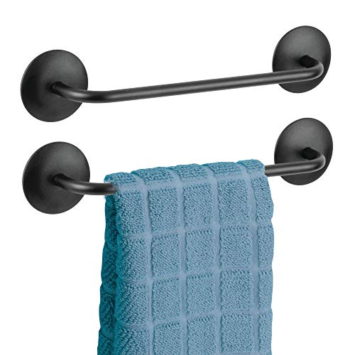 mDesign Kitchen Cabinet Self-Adhesive Small Metal Wall Mounted Towel Bars Holders for Hand Towels, Dish Drying Towels - Pack of 2, Matte Black