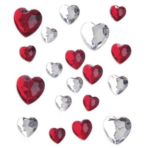 Red Rhinestone Heart (Stick-On Heart Rhinestones (Red and White AB))