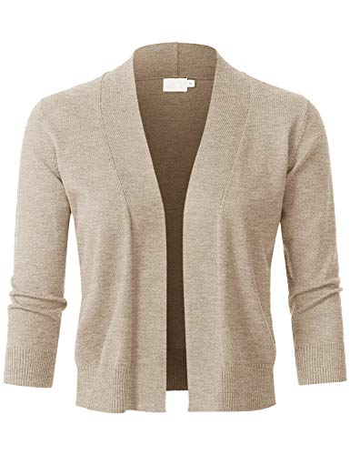 JSCEND Womens Classic 3/4 Sleeve Open Front Cropped Bolero Cardigan Khaki L