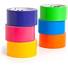 GatorCrafts NEW: Multi Colored Duct Tape - Variety Pack -6 Colors - 10 yards x 2 inch rolls. Girls & Boys Kids Craft Duck Set, Fun DIY Art Kit – Rainbow: orange green yellow pink blue yr