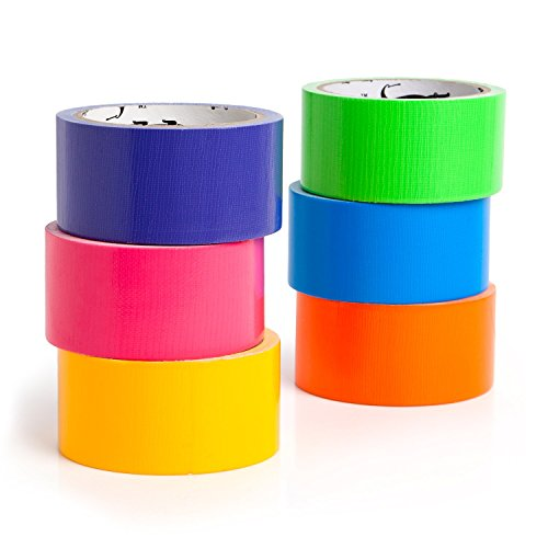 GatorCrafts NEW: Multi Colored Duct Tape - Variety Pack -6 Colors - 10 yards x 2 inch rolls. Girls & Boys Kids Craft Duck Set, Fun DIY Art Kit - Rainbow: orange green yellow pink blue yr