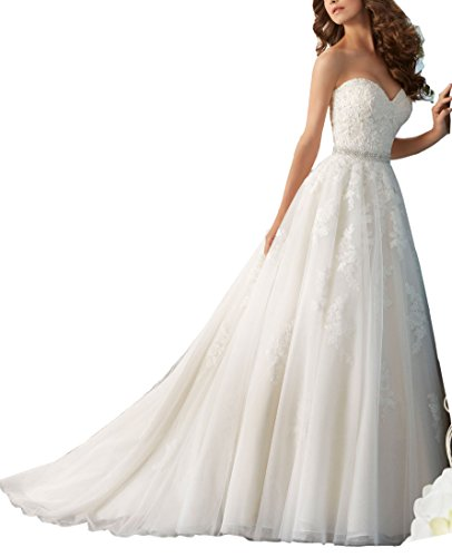 Nicefashion Sweetheart Beaded Lace A Line Wedding Dress with Detachable Bowknot