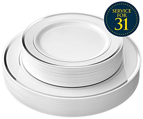 31 Perfect Party Set (Disposable Plastic Party Plates - 62 Piece Dinnerware Set - 31 Salad Plates and 31 Dinner Plates for Wedding, Banquet, Bridal Shower - Durable White Round Decorative Plate with Elegant)