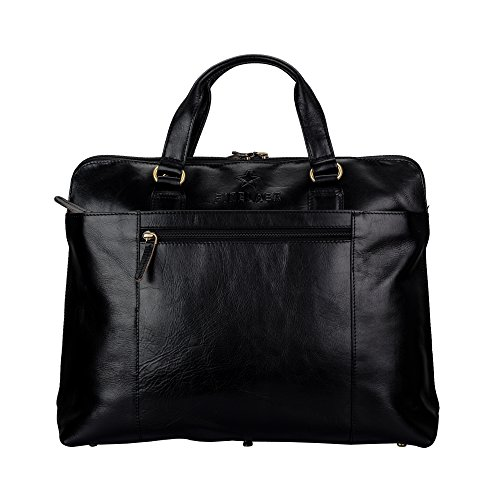 Finelaer Men And Women 14''Leather Laptop Computer Messenger Shoulder Strap Office Bag Black by FINELAER