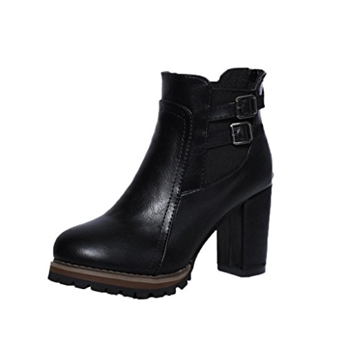 Aurorax Women's Ankle Boots, Buckle Strap Block Heel Boots Ladies Shoes Martin [Winter Clearance Big Discounts] (Black, - Soft Womens Figure Boot
