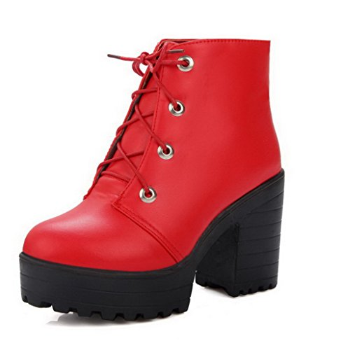 AgooLar Women's Soft Material Lace-up Round Closed Toe High-Heels Low-Top Boots Red kocK8NAy7