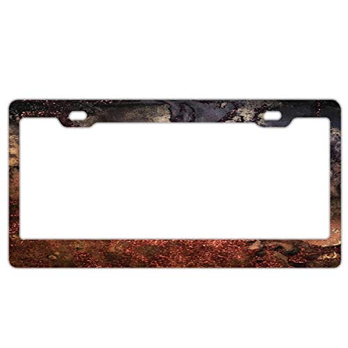 Wind gt Novelty License Plate Tag Metal12-Inches by 6-Inches Etched Aluminum UV Resistant Copper Glitter Stone and Ink Abstract Gem Glamour Marble